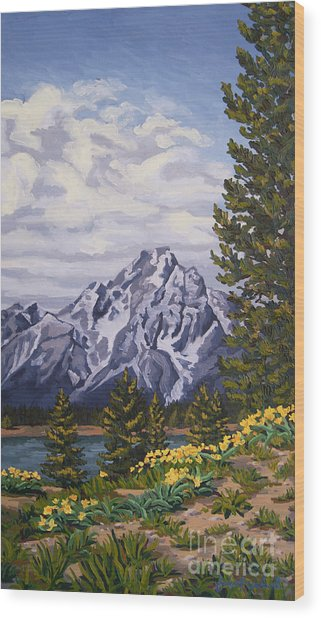 Wood Print featuring the painting Marina's Edge, Jenny Lake, Grand Tetons by Erin Fickert-Rowland