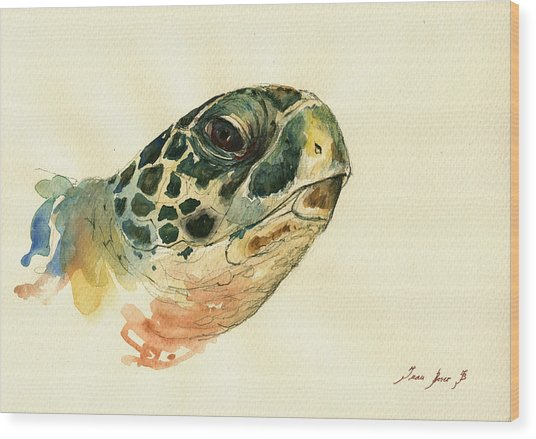 Marine Turtle Wood Print