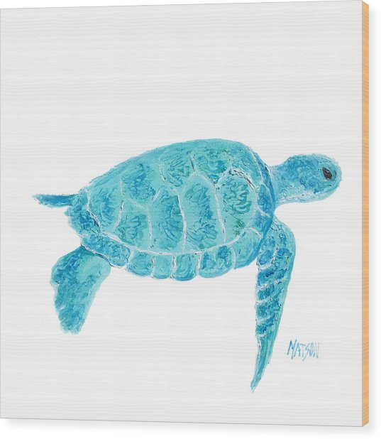 Marine Turtle Painting On White Wood Print