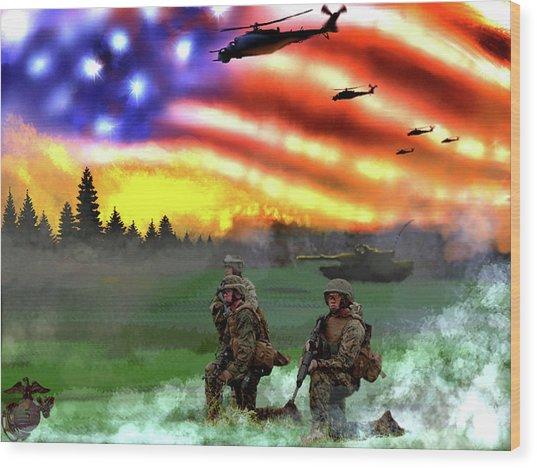 Marines Wood Print by Josh Burns