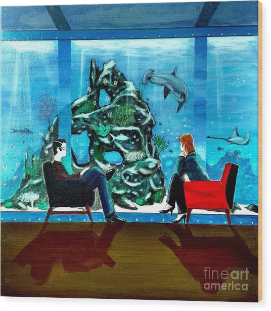 Marinelife Observing Couple Sitting In Chairs Wood Print