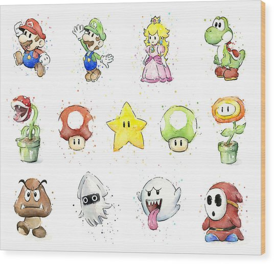Mario Characters In Watercolor Wood Print