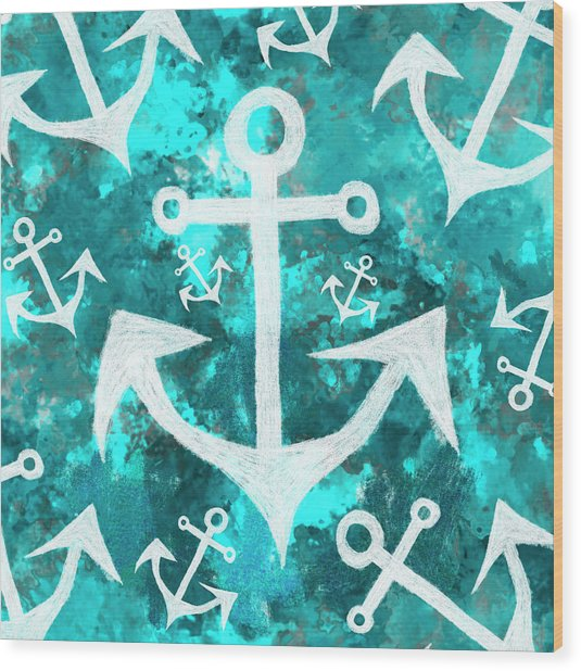 Maritime Anchor Art Wood Print