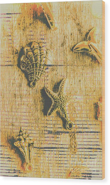 Maritime Sea Scroll Wood Print