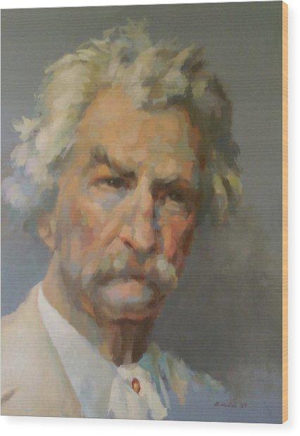 Mark Twain Wood Print by Mike Hanlon
