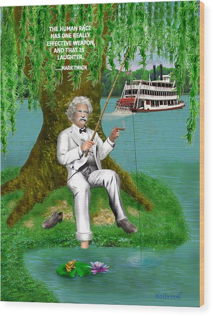 Mark Twain On The Mississippi Wood Print