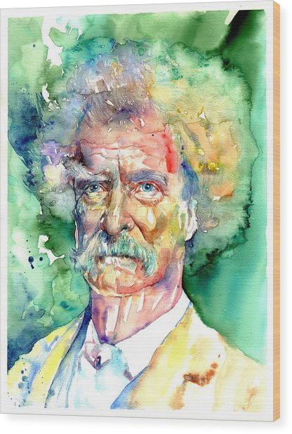 Mark Twain Watercolor Wood Print