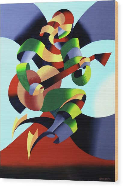 Mark Webster - Abstract Guitarist Wood Print