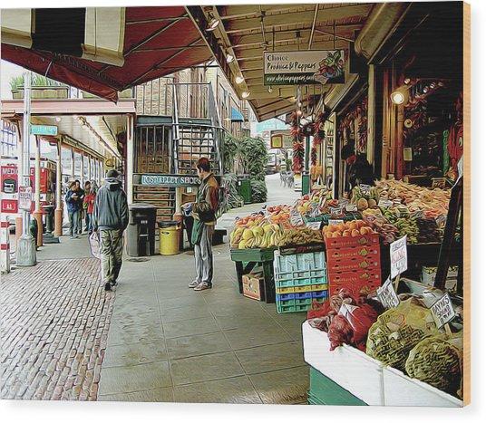 Market Alley Wares Wood Print