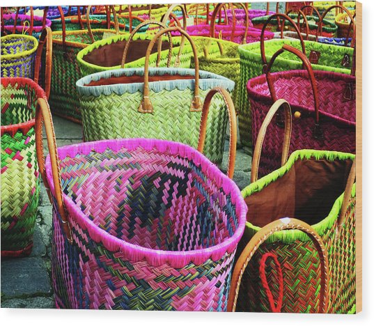 Market Baskets - Libourne Wood Print