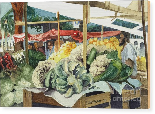 Wood Print featuring the painting Market Day At Ipanema by Douglas Teller