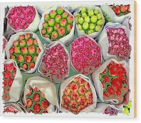 Market Flowers - Hong Kong Wood Print