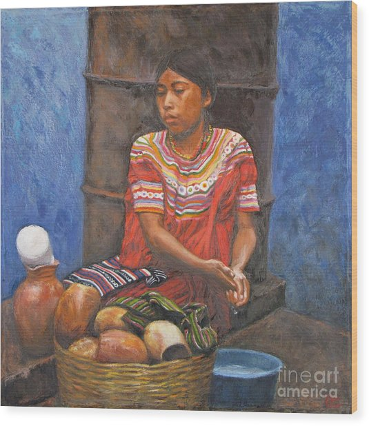 Market Girl Selling Atole Wood Print by Judith Zur