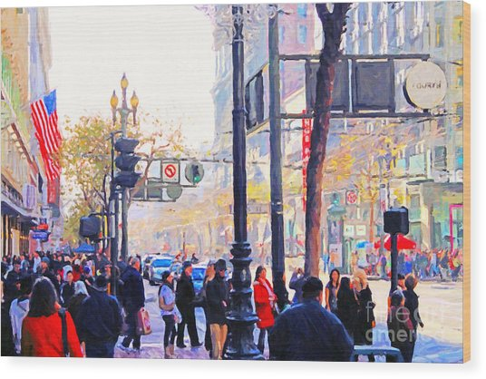 Market Street - Photo Artwork Wood Print by Wingsdomain Art and Photography
