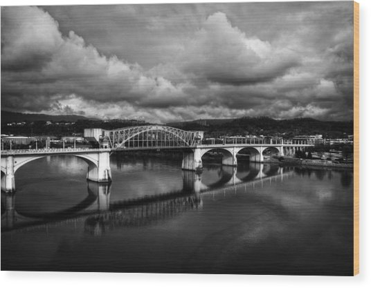 Market Street Bridge In Black And White Wood Print