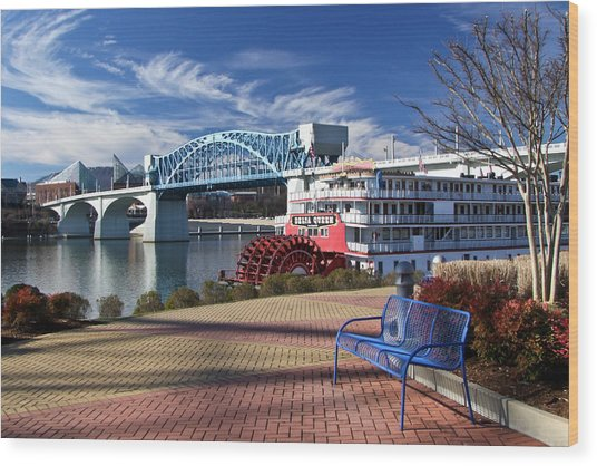 Market Street Bridge With The Delta Queen From Coolidge Park Wood Print