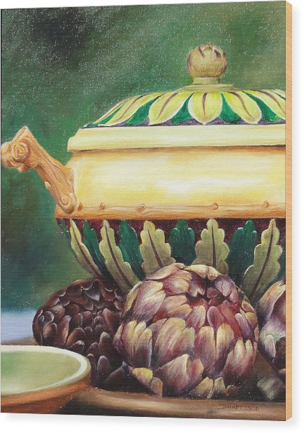 Market Tureen Wood Print by Denise H Cooperman