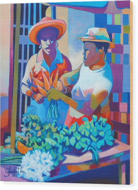 Market Vendor Wood Print