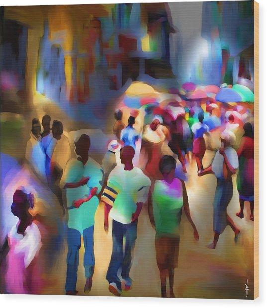 Marketplace At Night Cap Haitien Wood Print