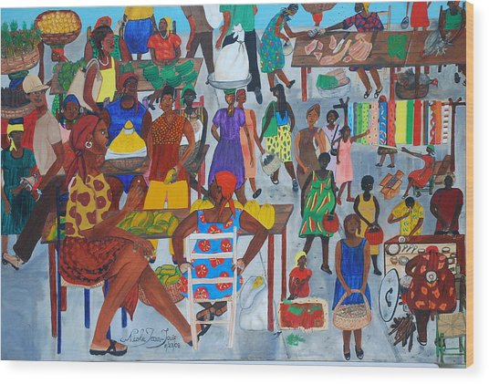Marketplace Jacmel Haiti Wood Print