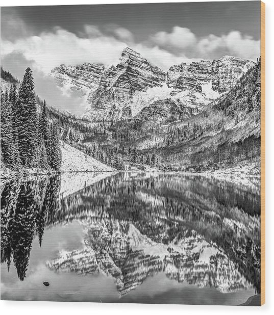 Maroon Bells - Aspen Colorado - Black-white - American Southwest 1x1 Wood Print