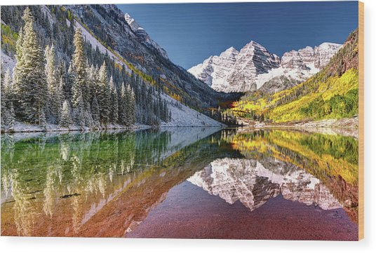 Olena Art Sunrise At Maroon Bells Lake Autumn Aspen Trees In The Rocky Mountains Near Aspen Colorado Wood Print
