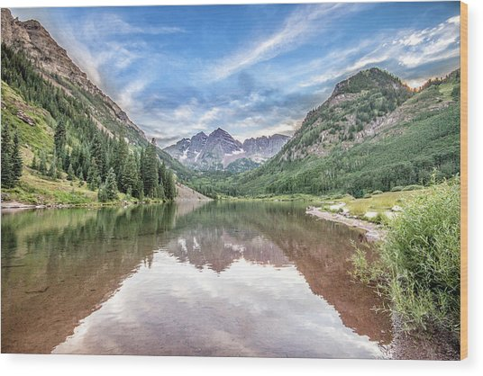 Maroon Bells Near Aspen, Colorado Wood Print