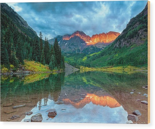 Maroon Bells Sunrise Wood Print