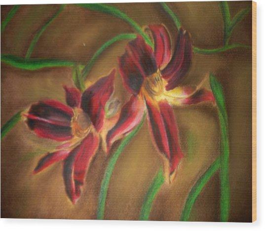 Maroon Lillies Wood Print by Latha  Vasudevan