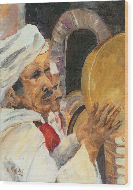 Marrakesh Musician Wood Print by Albert Fendig
