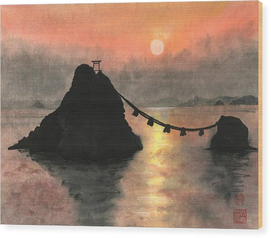 Married Couple Rocks At Sunset Wood Print