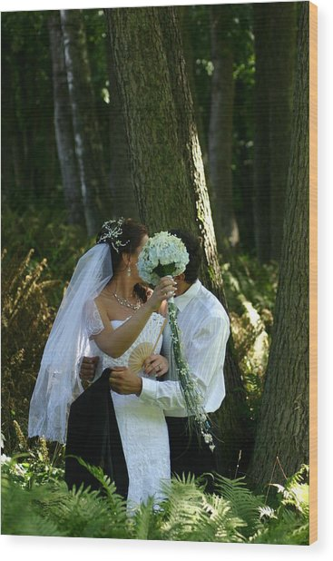 Married Wood Print by Juozas Mazonas