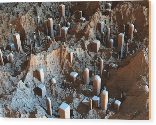 Mars Colony One Wood Print