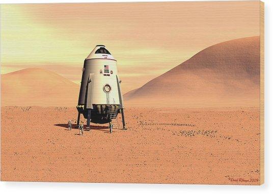 Mars Lander Ares First Steps Wood Print