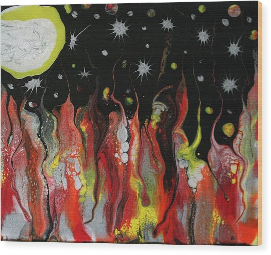 Wood Print featuring the painting Mars Moon by Vicki Winchester