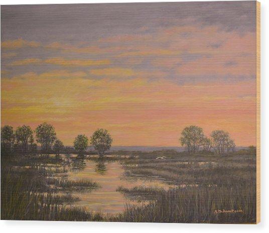 Marsh At Sunset Wood Print