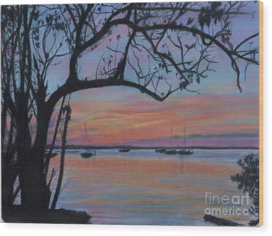 Marsh Harbour At Sunset Wood Print