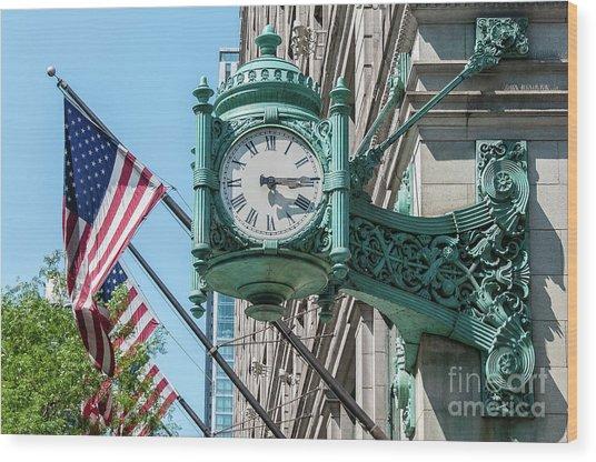 Marshall Field's Clock Wood Print