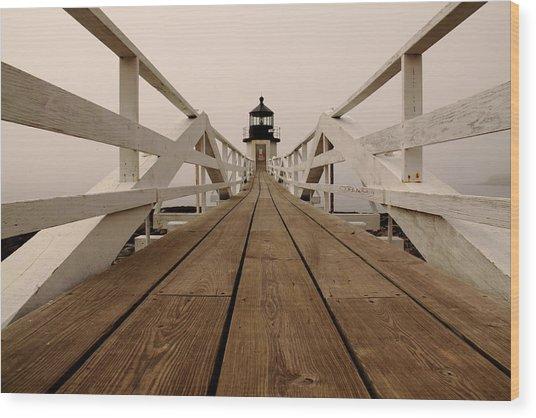 Marshall Point Fog Wood Print