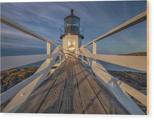 Marshall Point Lighthouse At Sunrise Wood Print
