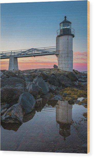 Marshall Point Reflection At Sunrise Wood Print