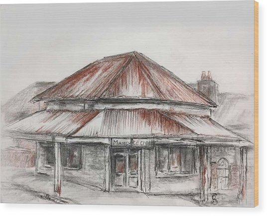 Marsh's Corner Store Wood Print
