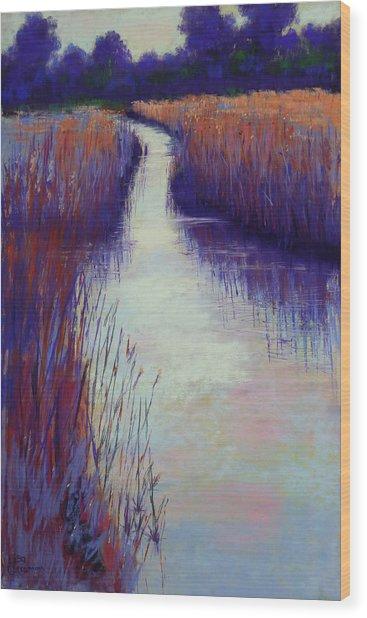 Marshy Reeds Wood Print