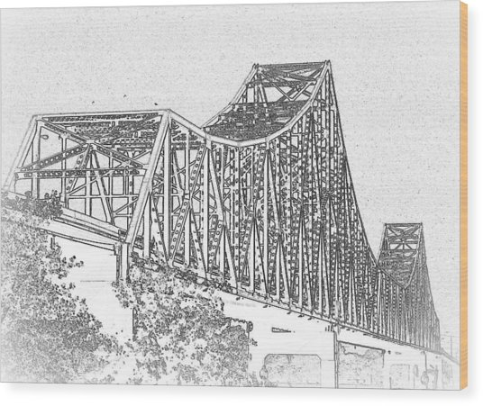 Martin Luther King Bridge Line Art Bw Wood Print