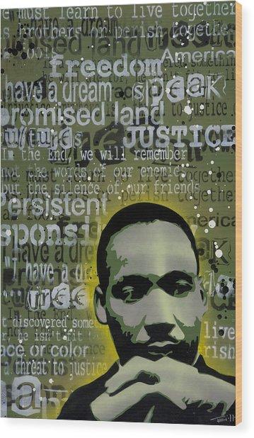 Martin Luther King Wood Print by Tai Taeoalii