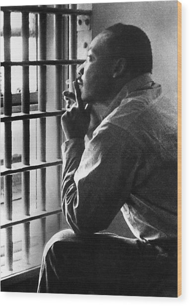 Martin Luther King, Jr, Sitting Wood Print by Everett
