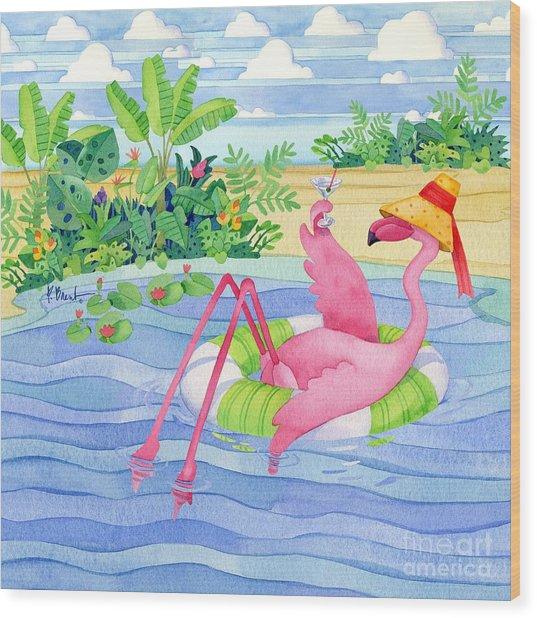 Martini Float Flamingo Wood Print by Paul Brent