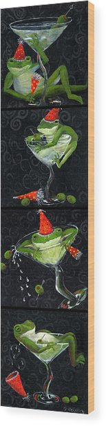 Martini Frogs Wood Print by Debbie McCulley