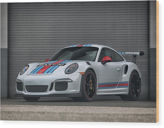 Wood Print featuring the photograph #martini #porsche 911 #gt3rs #print by ItzKirb Photography