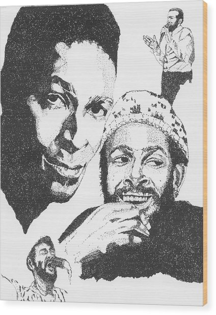 Marvin Gaye Tribute Wood Print